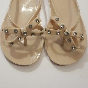 143 Girl Tan Jelly Flip Flops w/Rhinestone Bows 7